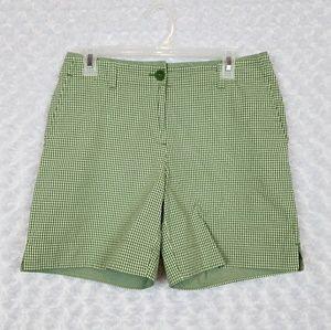 Talbots Size 6 Gingham Plaid Shorts Green Bermuda